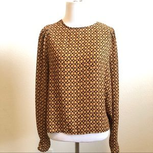 H&M Patterned Black And Orange Long Sleeve Blouse